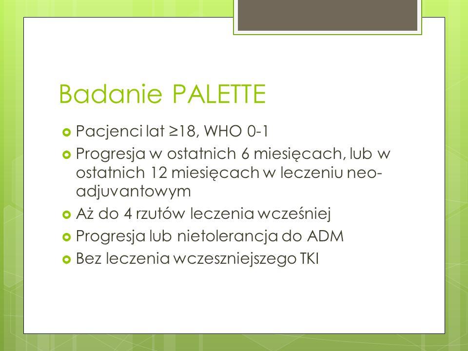 Badanie PALETTE Pacjenci lat ≥18, WHO 0-1