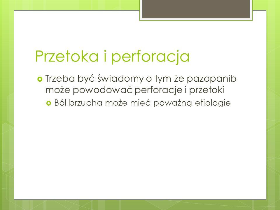 Przetoka i perforacja Trzeba być świadomy o tym że pazopanib może powodować perforacje i przetoki.