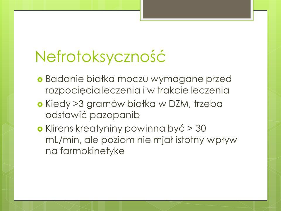 Nefrotoksyczność Badanie białka moczu wymagane przed rozpocięcia leczenia i w trakcie leczenia.