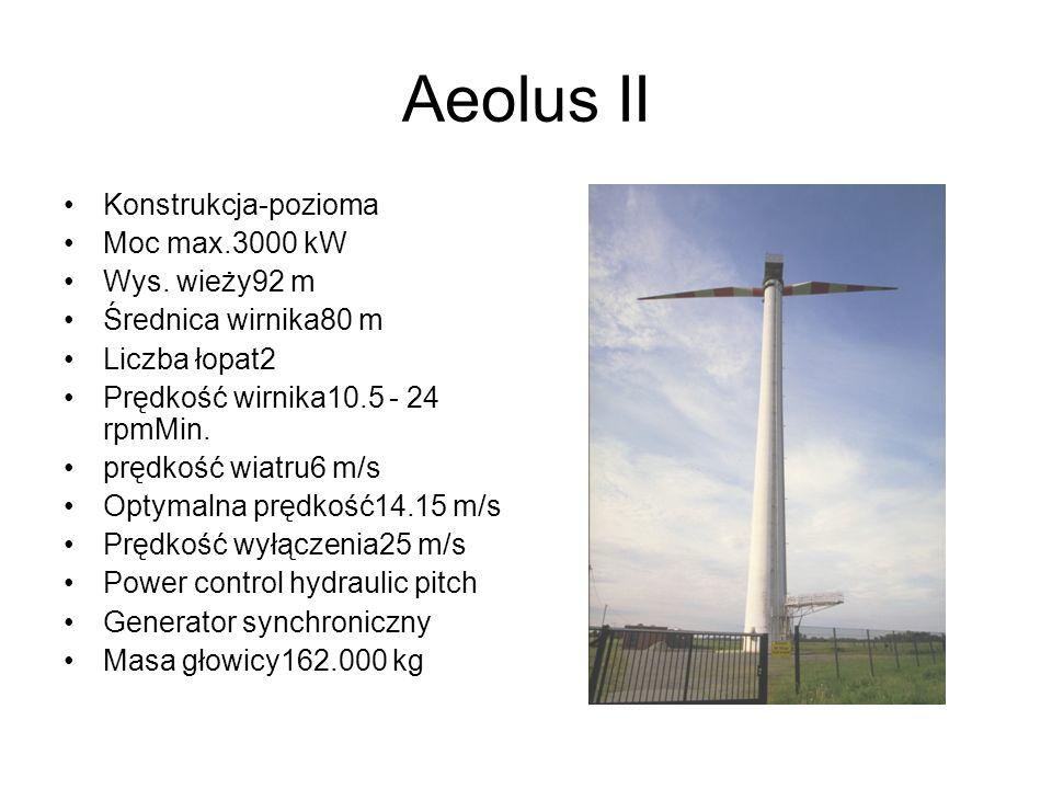 Aeolus II Konstrukcja-pozioma Moc max.3000 kW Wys. wieży92 m
