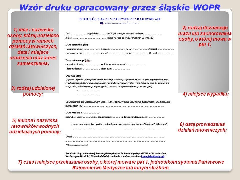Wzór druku opracowany przez śląskie WOPR