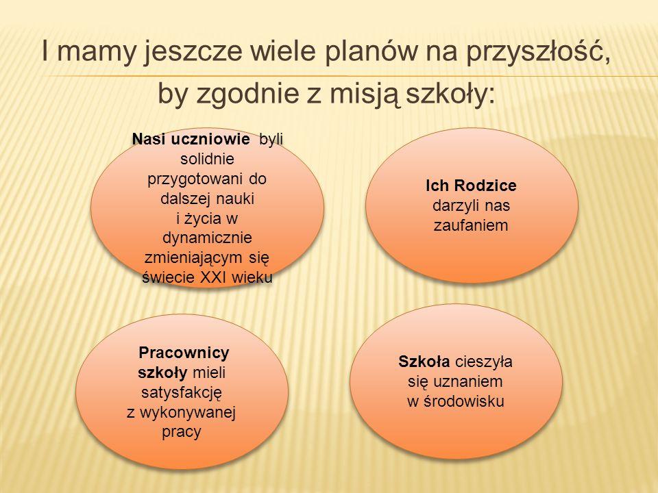 I mamy jeszcze wiele planów na przyszłość, by zgodnie z misją szkoły: