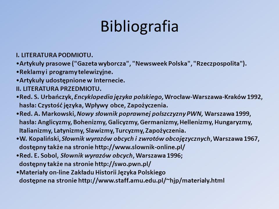 Bibliografia I. LITERATURA PODMIOTU.