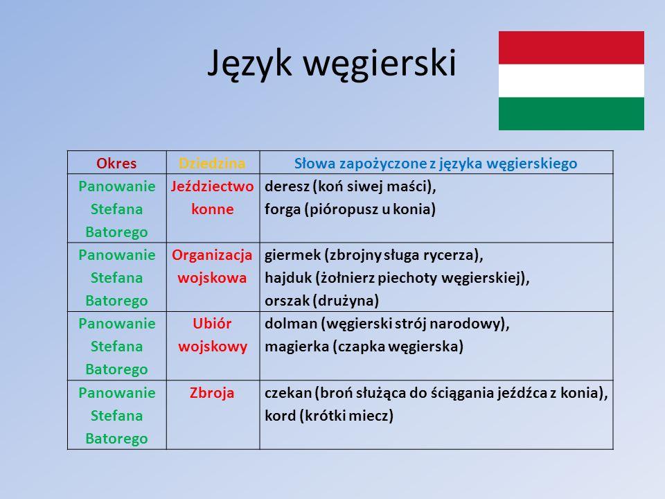 Słowa zapożyczone z języka węgierskiego Panowanie Stefana Batorego
