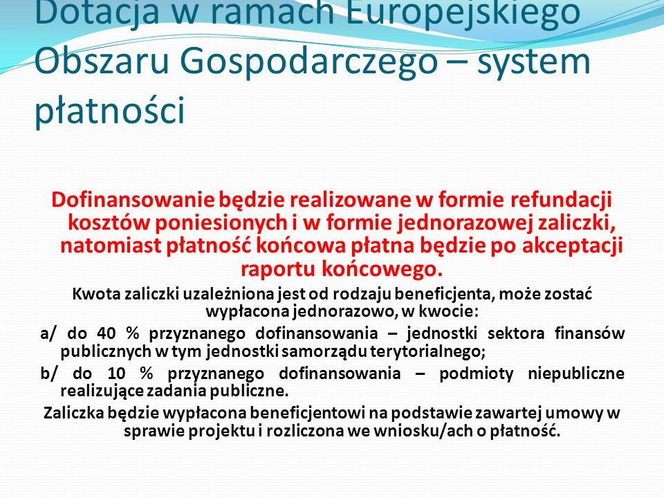 Dotacja w ramach Europejskiego Obszaru Gospodarczego – system płatności