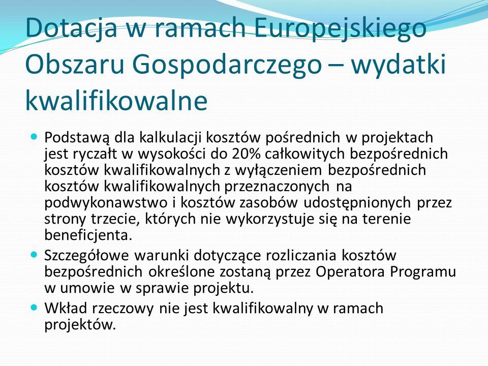 Dotacja w ramach Europejskiego Obszaru Gospodarczego – wydatki kwalifikowalne