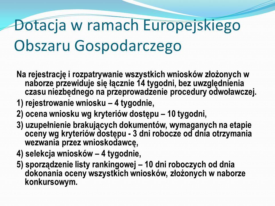 Dotacja w ramach Europejskiego Obszaru Gospodarczego