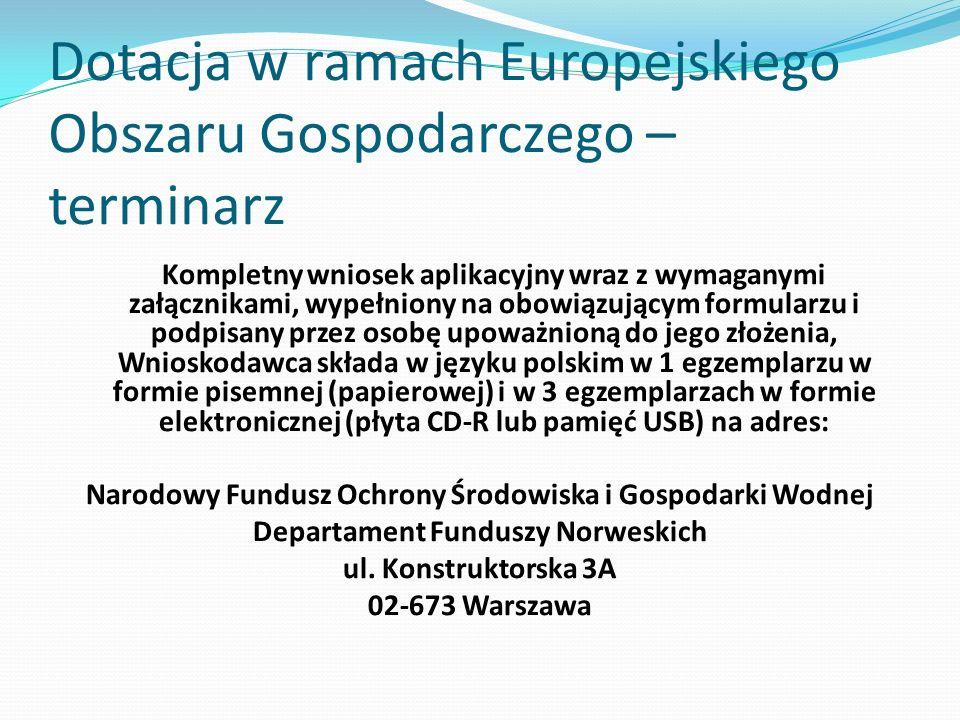 Dotacja w ramach Europejskiego Obszaru Gospodarczego – terminarz