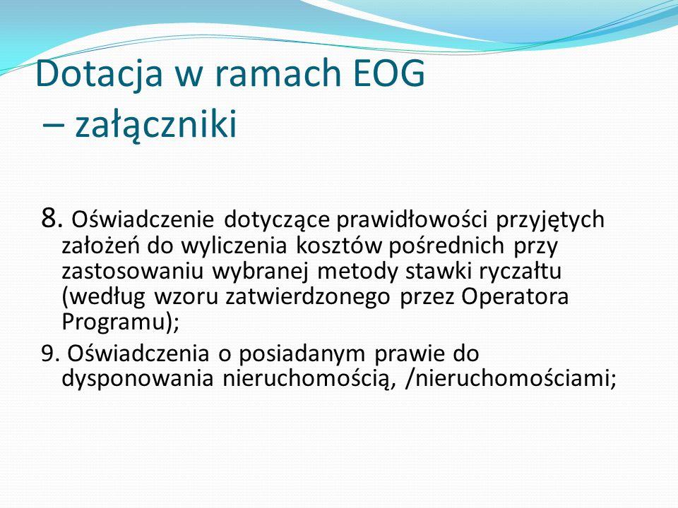 Dotacja w ramach EOG – załączniki