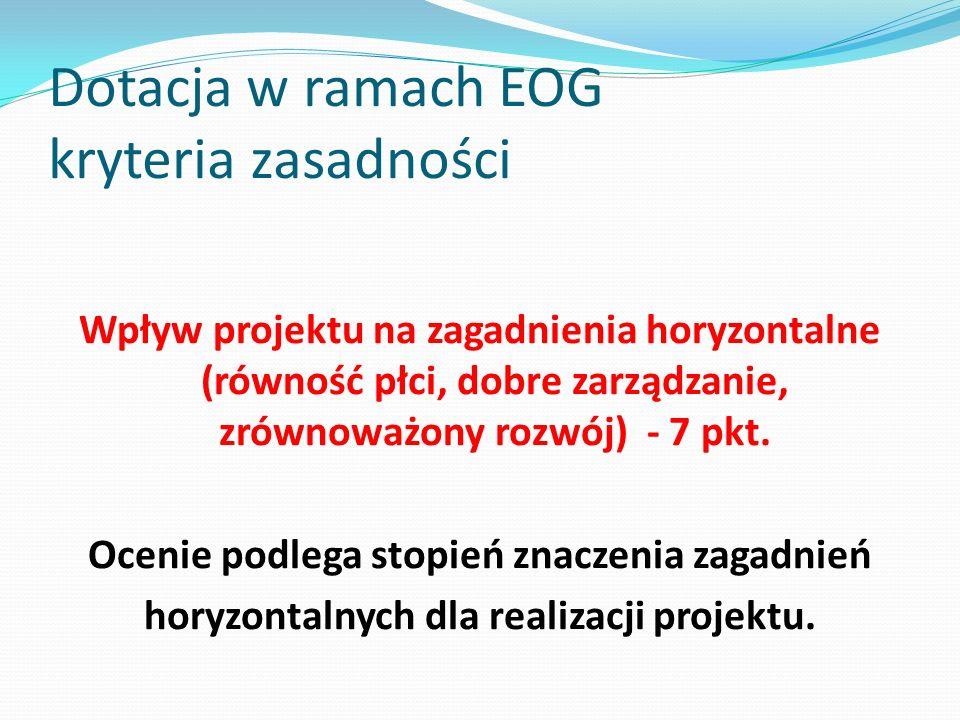Dotacja w ramach EOG kryteria zasadności