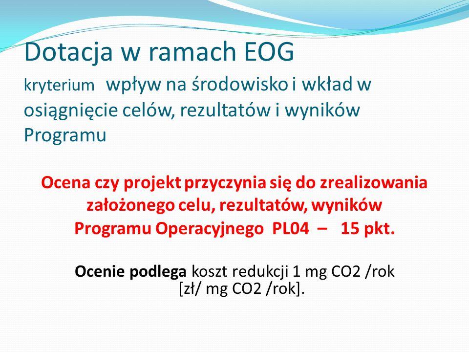 Dotacja w ramach EOG kryterium wpływ na środowisko i wkład w osiągnięcie celów, rezultatów i wyników Programu
