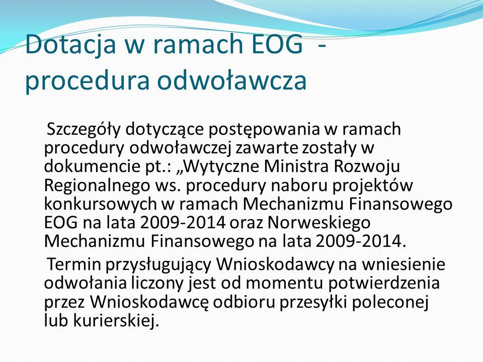Dotacja w ramach EOG - procedura odwoławcza