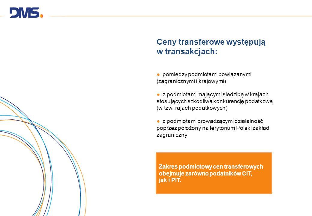 Ceny transferowe występują w transakcjach: