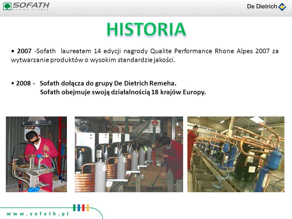 HISTORIA • 2007 -Sofath laureatem 14 edycji nagrody Qualite Performance Rhone Alpes 2007 za wytwarzanie produktów o wysokim standardzie jakości.