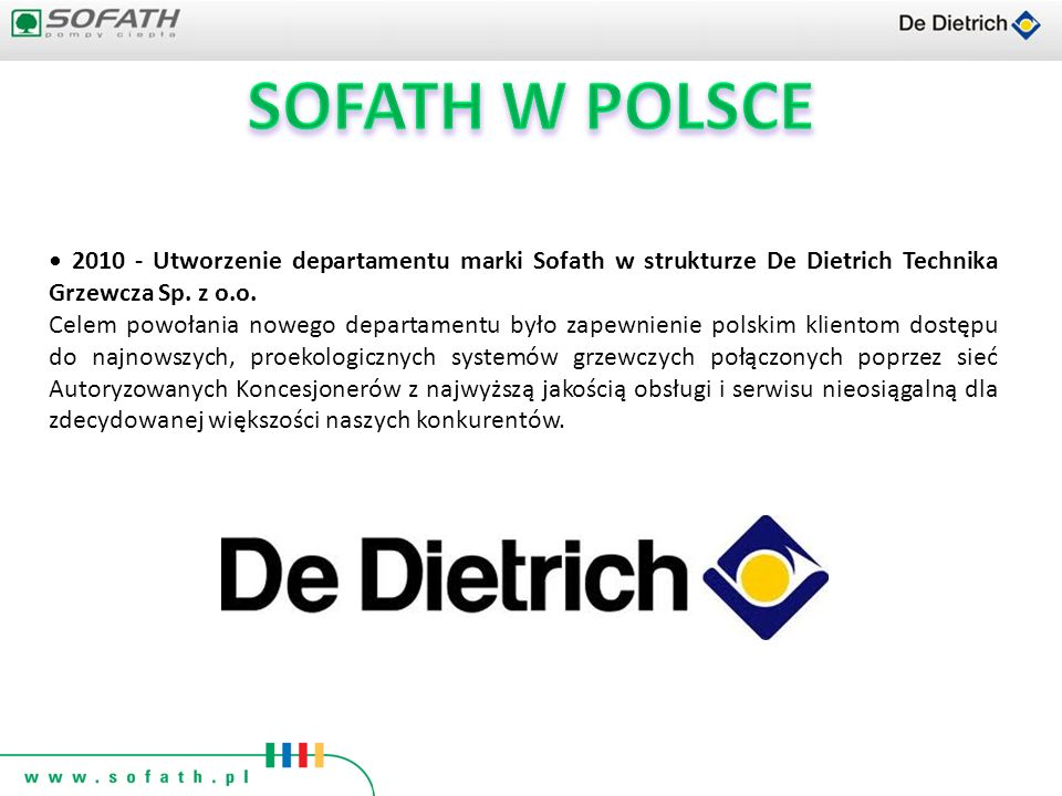 SOFATH W POLSCE • 2010 - Utworzenie departamentu marki Sofath w strukturze De Dietrich Technika Grzewcza Sp. z o.o.