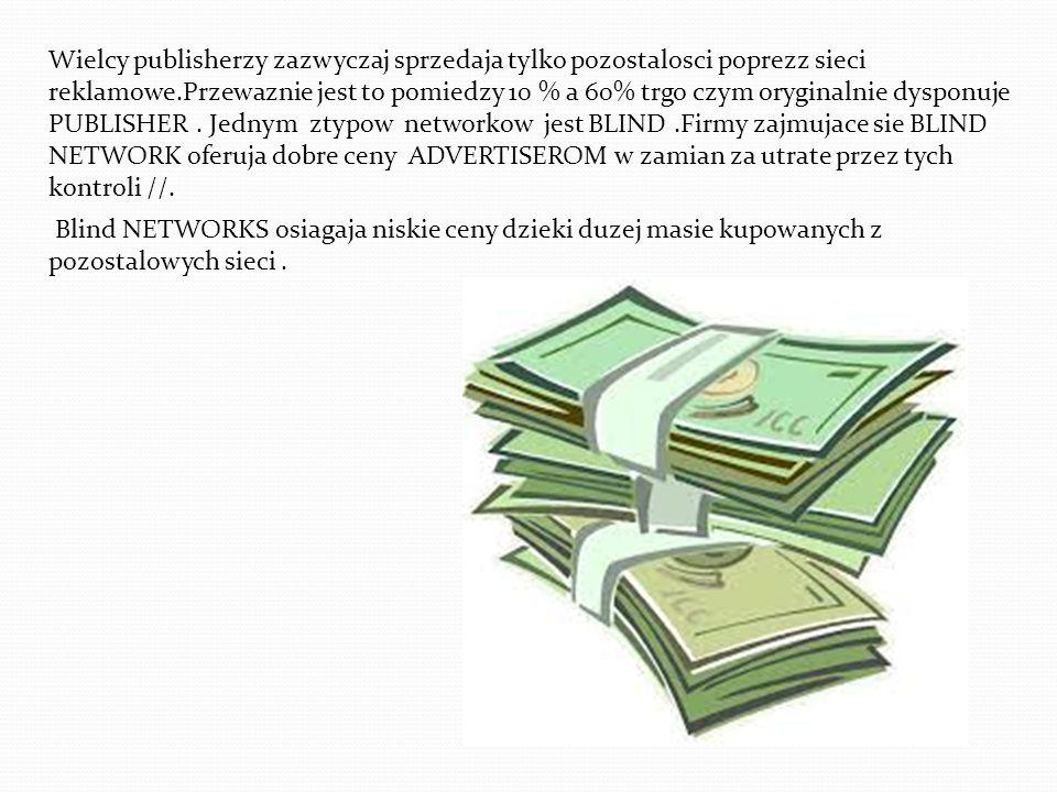 Wielcy publisherzy zazwyczaj sprzedaja tylko pozostalosci poprezz sieci reklamowe.Przewaznie jest to pomiedzy 10 % a 60% trgo czym oryginalnie dysponuje PUBLISHER . Jednym ztypow networkow jest BLIND .Firmy zajmujace sie BLIND NETWORK oferuja dobre ceny ADVERTISEROM w zamian za utrate przez tych kontroli //.