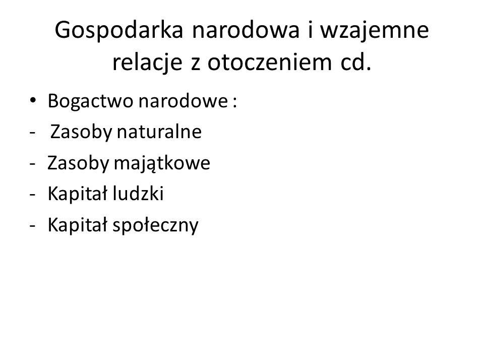 Gospodarka narodowa i wzajemne relacje z otoczeniem cd.