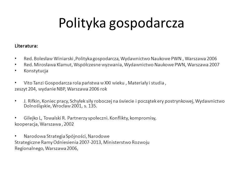 Polityka gospodarcza Literatura: