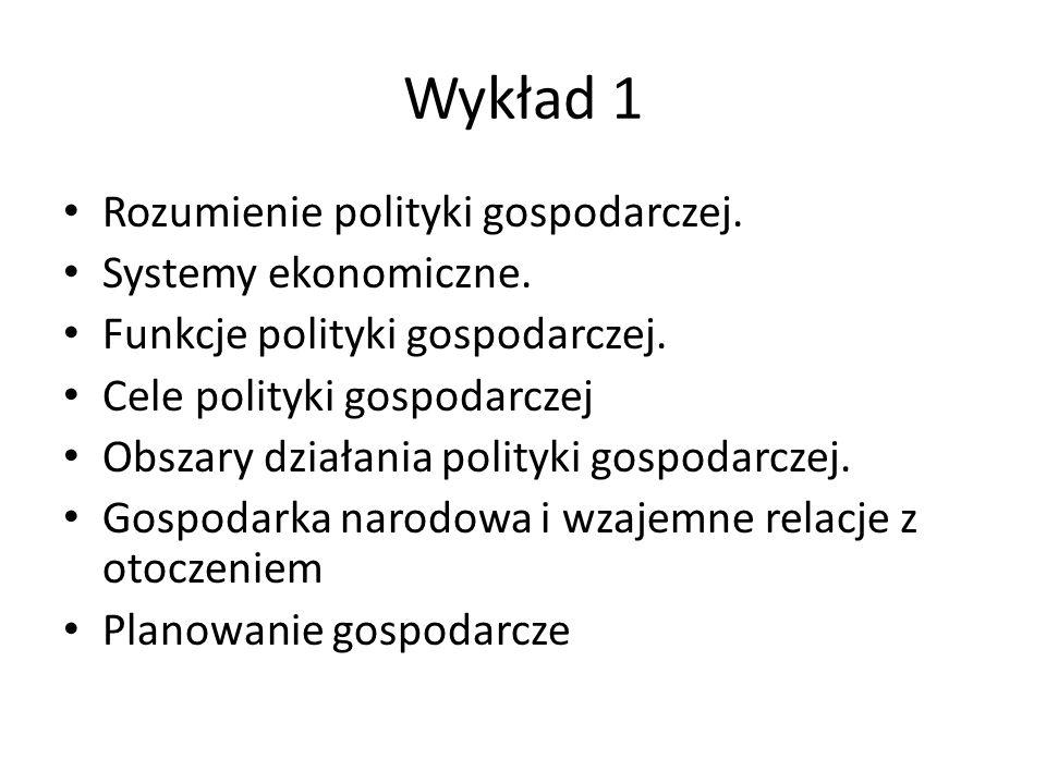 Wykład 1 Rozumienie polityki gospodarczej. Systemy ekonomiczne.