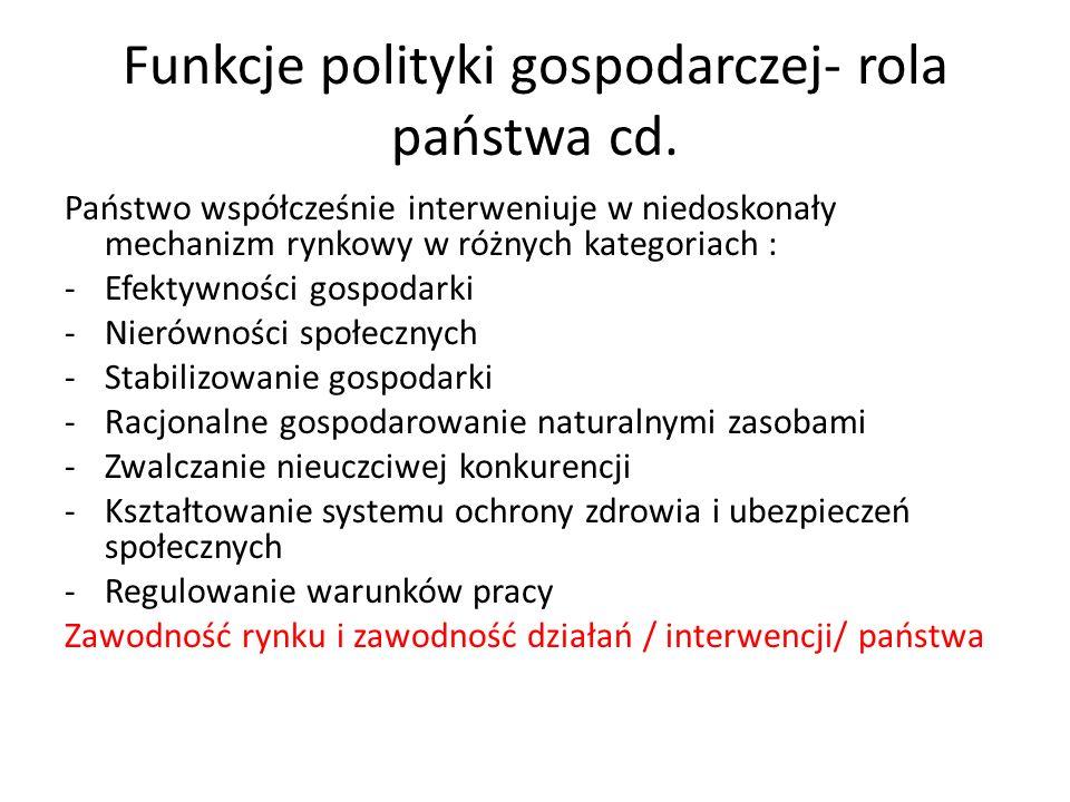 Funkcje polityki gospodarczej- rola państwa cd.