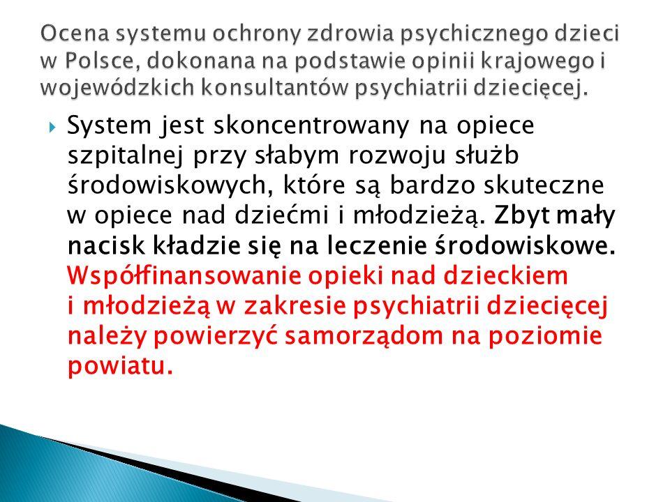 Ocena systemu ochrony zdrowia psychicznego dzieci w Polsce, dokonana na podstawie opinii krajowego i wojewódzkich konsultantów psychiatrii dziecięcej.
