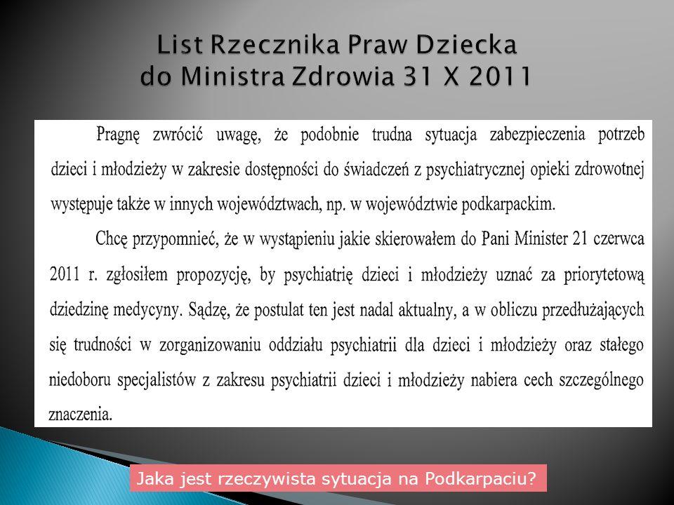 List Rzecznika Praw Dziecka do Ministra Zdrowia 31 X 2011