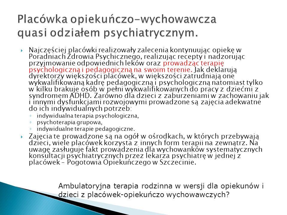 Placówka opiekuńczo-wychowawcza quasi odziałem psychiatrycznym.