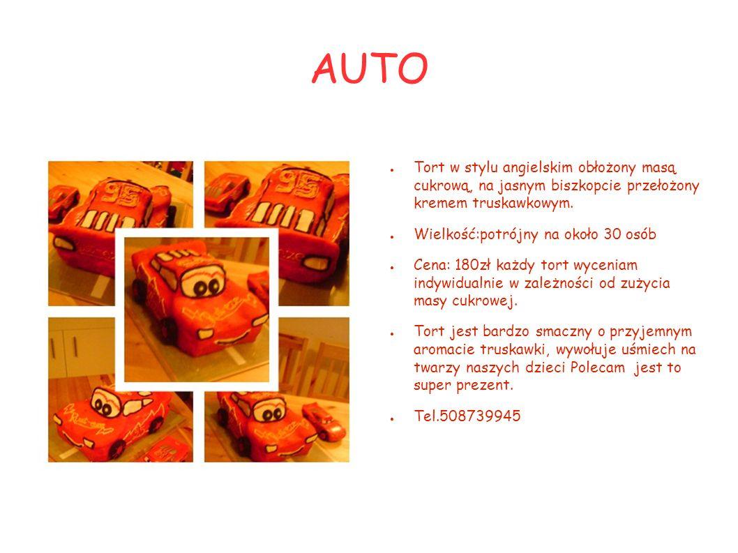 AUTO Tort w stylu angielskim obłożony masą cukrową, na jasnym biszkopcie przełożony kremem truskawkowym.