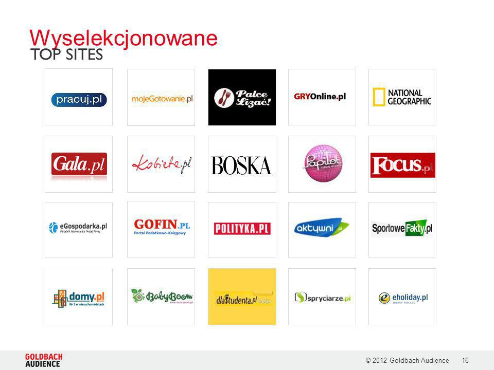 Wyselekcjonowane TOP SITES © 2012 Goldbach Audience