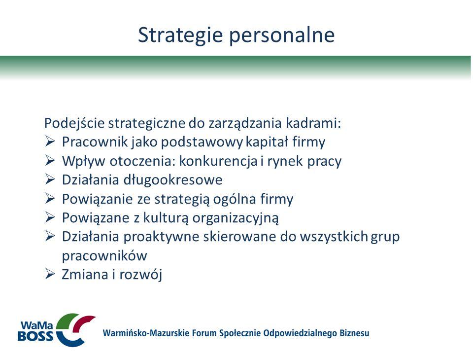 Strategie personalne Podejście strategiczne do zarządzania kadrami:
