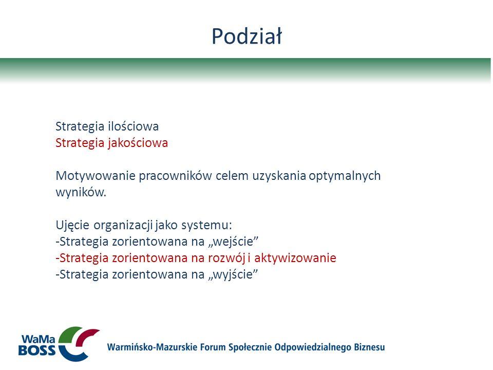 Podział Strategia ilościowa Strategia jakościowa