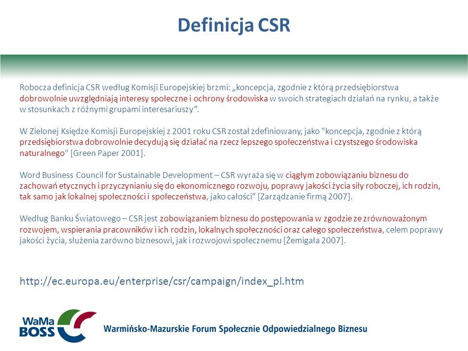 Definicja CSR http://ec.europa.eu/enterprise/csr/campaign/index_pl.htm