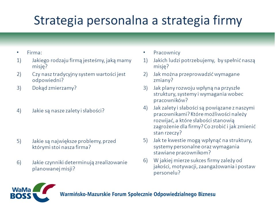 Strategia personalna a strategia firmy