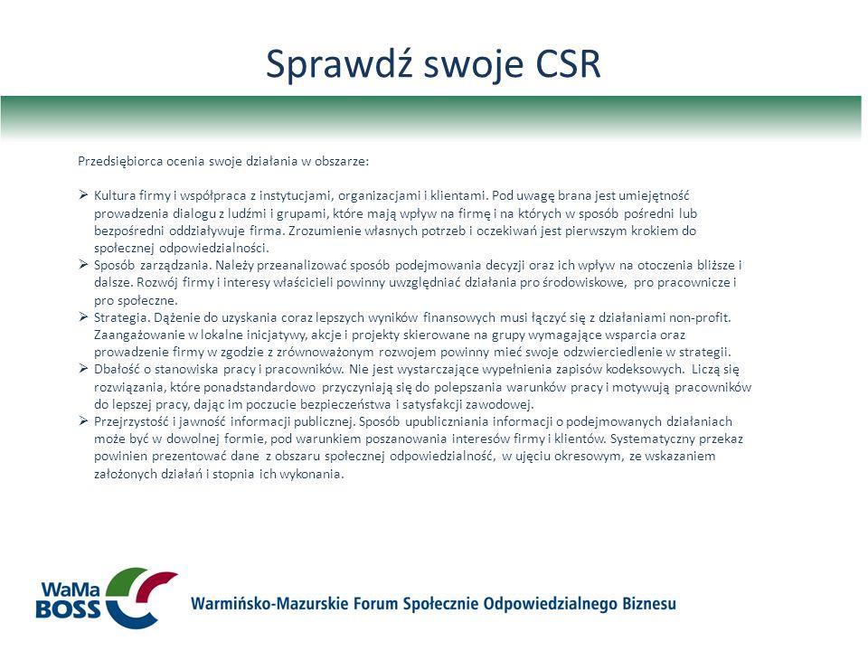 Sprawdź swoje CSR Przedsiębiorca ocenia swoje działania w obszarze:
