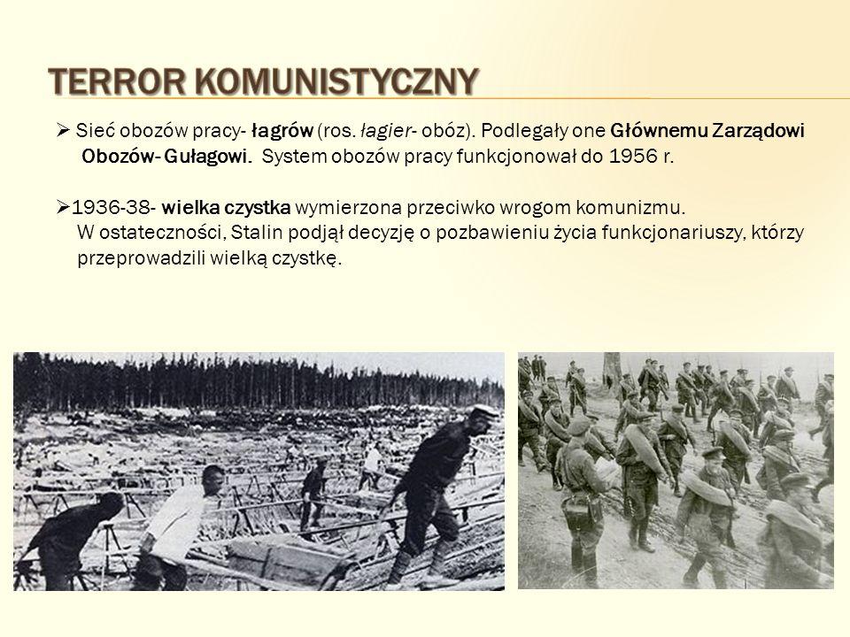Terror Komunistyczny Sieć obozów pracy- łagrów (ros. łagier- obóz). Podlegały one Głównemu Zarządowi.