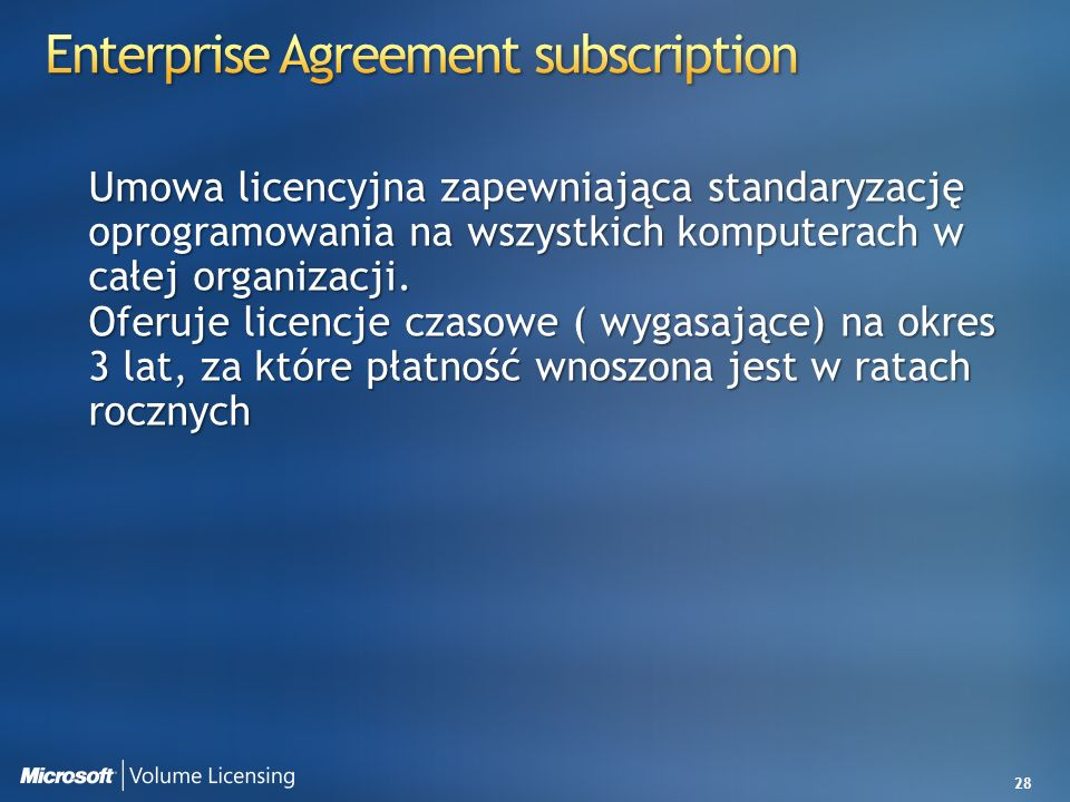 Enterprise Agreement subscription