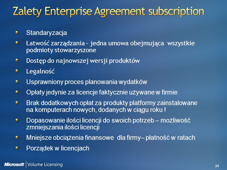 Zalety Enterprise Agreement subscription