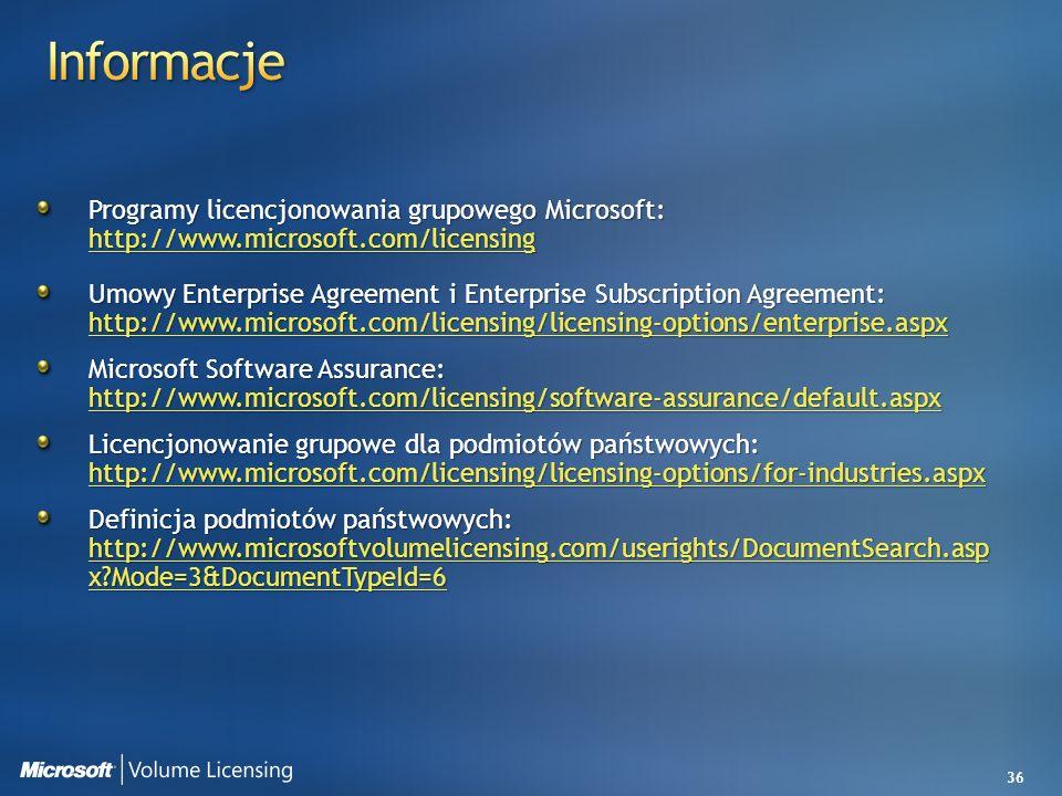 3/28/2017 4:49 AM Informacje. Programy licencjonowania grupowego Microsoft: http://www.microsoft.com/licensing.