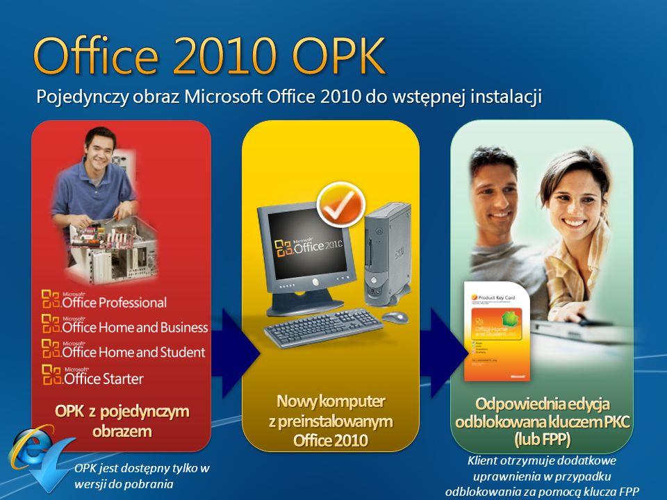 Office 2010 OPK Pojedynczy obraz Microsoft Office 2010 do wstępnej instalacji. Nowy komputer z preinstalowanym Office 2010.