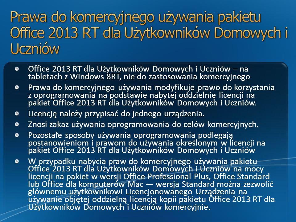 Prawa do komercyjnego używania pakietu Office 2013 RT dla Użytkowników Domowych i Uczniów