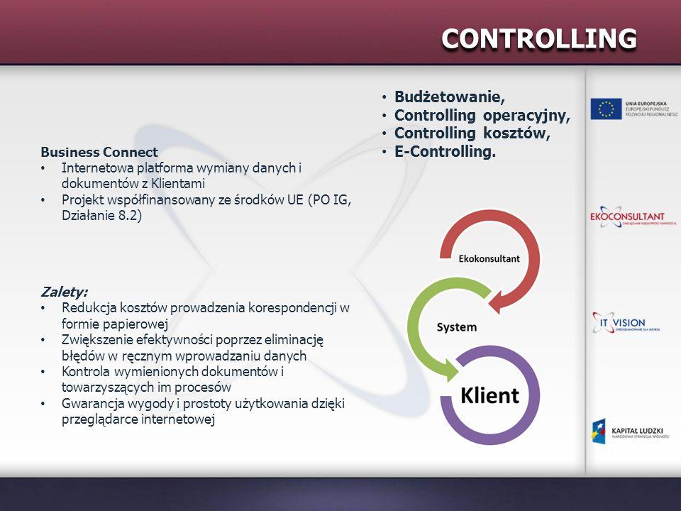 CONTROLLING Budżetowanie, Controlling operacyjny, Controlling kosztów,