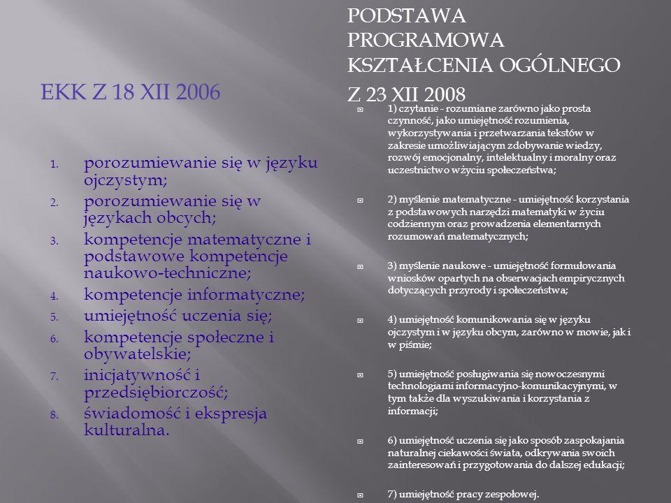 EKK z 18 XII 2006 Podstawa programowa kształcenia ogólnego