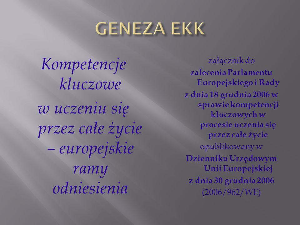 GENEZA EKK Kompetencje kluczowe w uczeniu się przez całe życie – europejskie ramy odniesienia