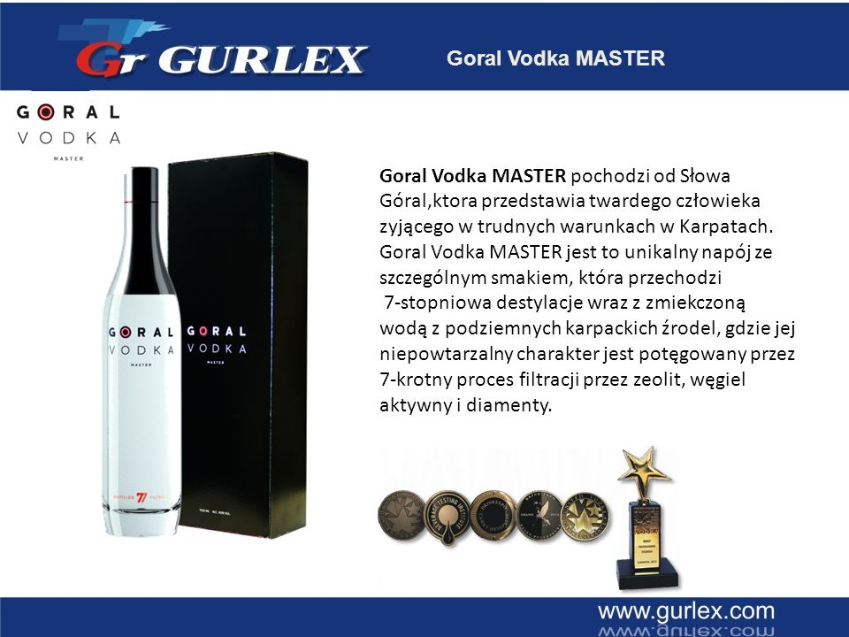 Goral Vodka MASTER Goral Vodka MASTER pochodzi od Słowa Góral,ktora przedstawia twardego człowieka zyjącego w trudnych warunkach w Karpatach.