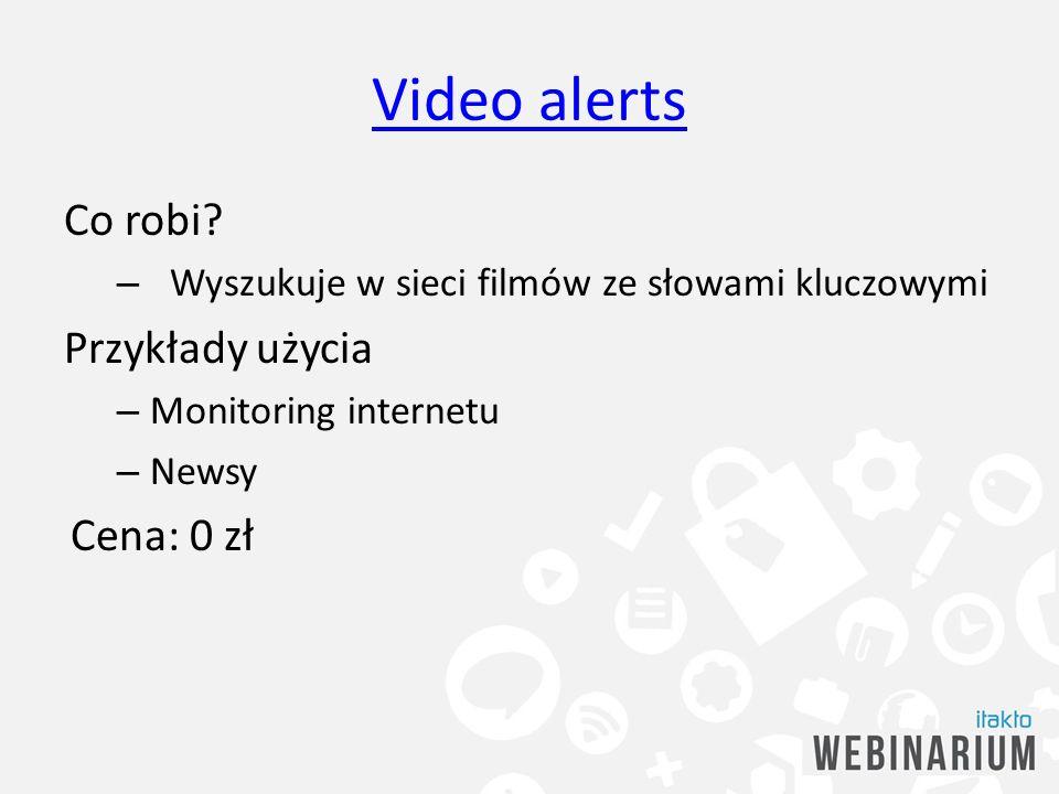 Video alerts Co robi Przykłady użycia Cena: 0 zł