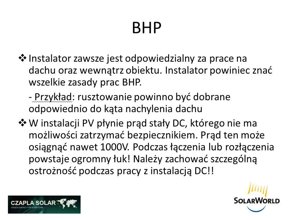 BHPInstalator zawsze jest odpowiedzialny za prace na dachu oraz wewnątrz obiektu. Instalator powiniec znać wszelkie zasady prac BHP.