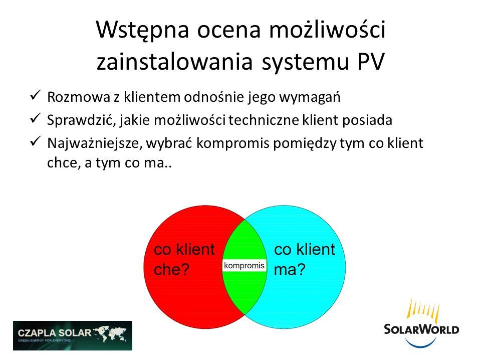 Wstępna ocena możliwości zainstalowania systemu PV