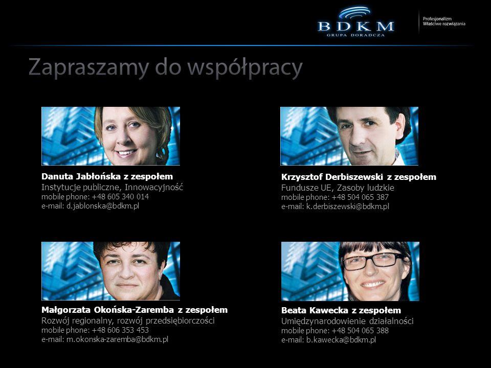 Danuta Jabłońska z zespołem Instytucje publiczne, Innowacyjność