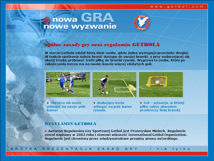 ogólne zasady gry oraz regulamin GETBOLA