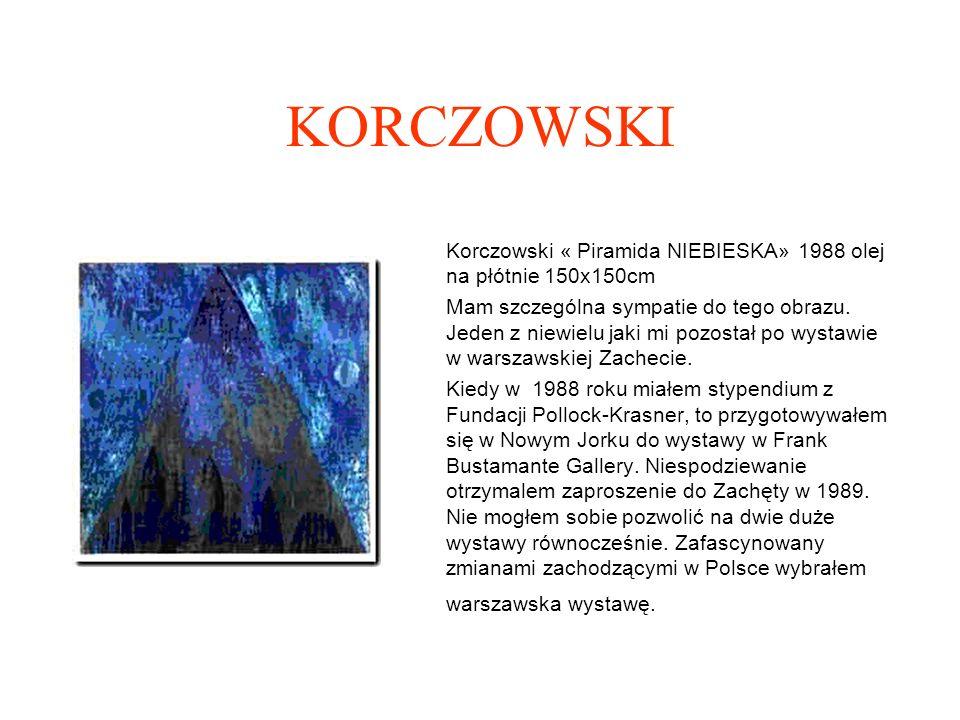 KORCZOWSKI Korczowski « Piramida NIEBIESKA» 1988 olej na płótnie 150x150cm.